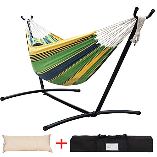 Lazy Daze Hammocks Double Hammock with Space Saving Steel Stand Includes Portable Carrying Case and Head Pillow, 450 Pounds Capacity (Meadow Stripe) by Lazy Daze Hammocks