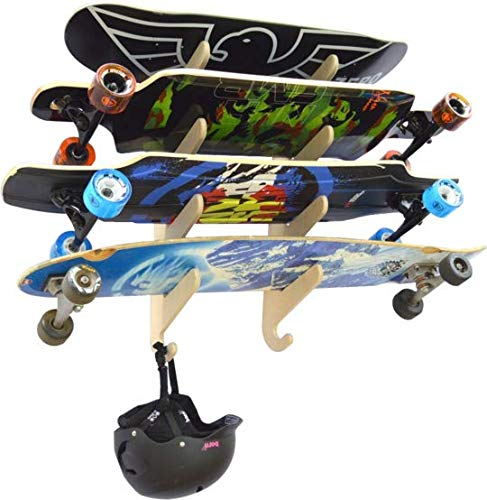 (Longboard Skateboard Hanging Wall Rack -- Holds 4 Boards)