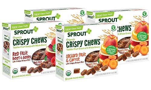 Sprout Organic Baby Food, Sprout Crispy Chews Organic Toddler Snacks, Red Fruit Berry and Beet, Orchard Fruit and Carrot 4 pack case of 20 Crispy Chews (4 boxes, 2 of each, 5 packets per box)