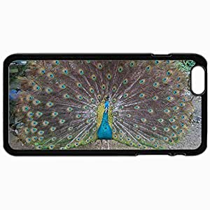 Fashion Unique Design Protective Cellphone Back Cover Case For iPhone 6 Plus Case Big Peacock Black