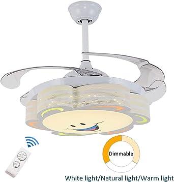 Equipo de luz para ventilador de techo de dibujos animados, Araña de luces LED para habitación infantil Lámpara de techo colgante Jardín infancia Cuarto de princesas Restaurante Control remoto,White: Amazon.es: Iluminación