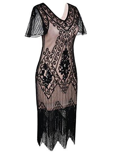 Flapper Damen Prettyguide Charleston 1920er Kleid Mit Ärmel Pailetten Cocktail Beige Schwarz