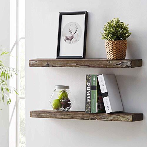 solid oak shelves and rustic pine shelf set