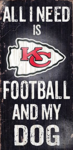 "Kansas City Chiefs Wood Sign - Football and Dog 6""x12"""