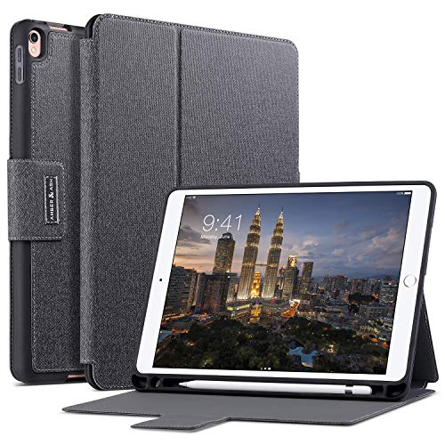 Amber & Ash iPad Folio Case - Protective, Slim Folding, Multi Angle Stand Cover with Smart Auto Sleep/Wake and Apple Pencil Holder - Fits 10.5 inch iPad Pro [Black]