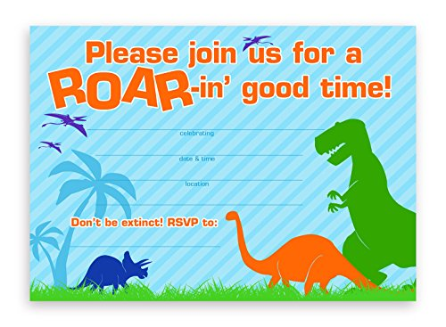Dinosaur Party LARGE Invitations - 20 Invitations + 20 Envelopes (Dinosaur Birthday Party Invitation)