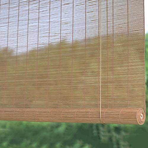 Price comparison product image Carbonized Bamboo Roll up Window Blinds,  Privacy Window Blinds,  Garden Patio Gazebo Exterior Blackout Roller Shade (Size : W90cm×H200cm)