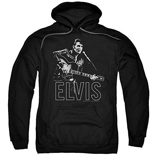 Elvis Presley - Guitar in Hand - Adult Hoodie Sweatshirt - Medium Black