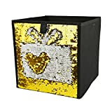 Homiak Magic Reversible Mermaid Sequins Storage Box Linen Fabric Foldable Basket Cube Organizer Bin Box Container Drawer (Golden)