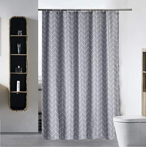 S·Lattye Bathroom Shower Curtain or Liner Waterproof Fabric Washable Polyester (Hotel Quality Friendly Stripe Heavy Duty) with White Plastic Hooks - 72
