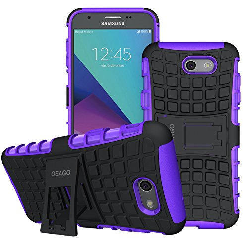 OEAGO Samsung Galaxy J7 V J7V 1st Gen 2017 Case, Galaxy J7 Prime Case, Galaxy J7 Perx Case, Galaxy J7 2017 Case, Galaxy J7 Sky Pro Case, Halo Case, Tough Rugged Dual Layer Case Kickstand - Purple