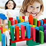 MorTime 1080 Pcs 12 Colors Wooden Dominoes Set with 23 Add-on Blocks and 3 Spacer for Kids Building Blocks Racing Tile Games with 3 Storage Bag