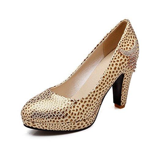 AllhqFashion Damen Ziehen auf Rund Zehe Hoher Absatz PU Leder Gemischte Farbe Pumps Schuhe Golden