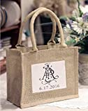 BagzDepot Rustic Wedding Favor Jute Tote Bags | Promotional Mini Burlap Bags with Clear Plastic Pocket - TJ907 (100)