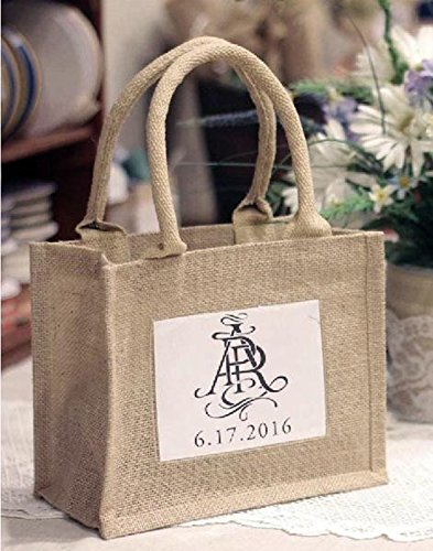 Mini Jute (BagzDepot Rustic Wedding Favor Jute Tote Bags | Promotional Mini Burlap Bags with Clear Plastic Pocket - TJ907 (1))