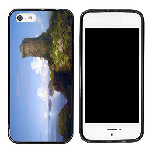 Rikki Knight Thomas Cole Art Italian Coast Scene with Ruined Tower Design iPhone 5 & 5s Case Cover - Black (Ruined Tower)