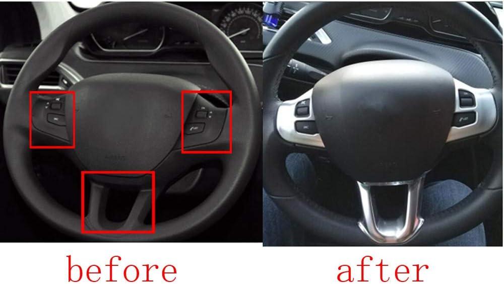 3 Caches de Volant D/éCoration Autocollant Logo Emblem Trim pour 208 2008 GTI Accessoires de Voiture Chrome Argent