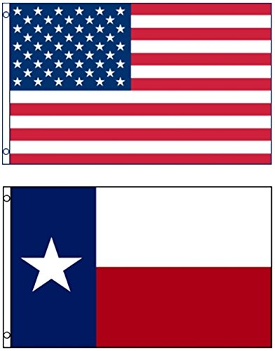 Mission Flags 3x5 ft. US American and Texas State Polyester Flags
