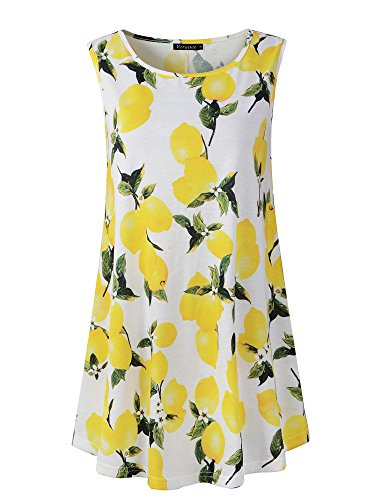 Veranee Women's Sleeveless Swing Tunic Summer Floral Flare Tank Top (XX-Large, 6-24)