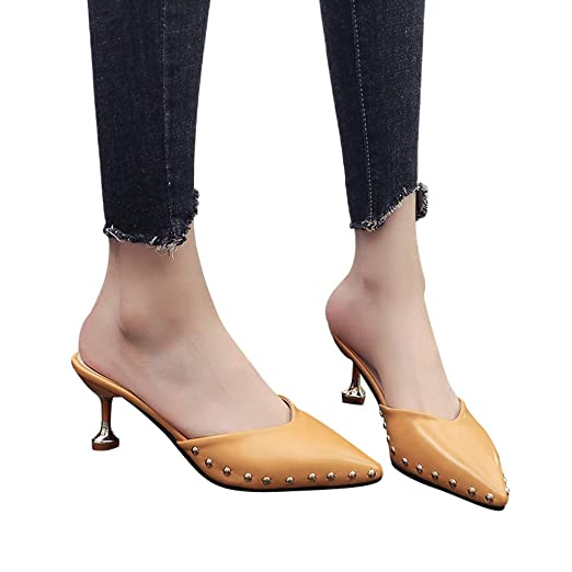 Amazon.com  High Heels Women Dressy Pointed Toe Pumps Slip on Mules Clogs  Slide Sandals Shoes Yellow  Clothing 168ddfdf57a