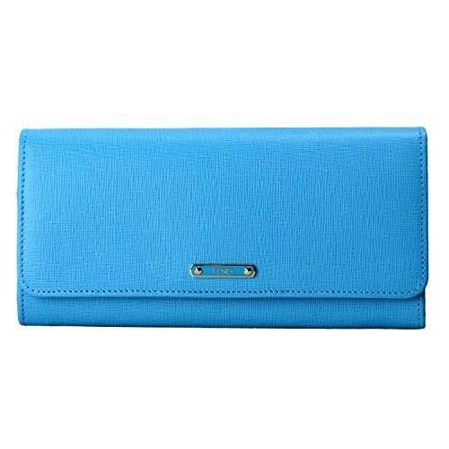 Fendi Women's Blue Saffiano Leather Continental Crayons Wallet ()