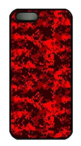 iPhone 5S Cases & Covers Red Digital Camo HAC1014426 Custom PC Hard Case Cover for iPhone 5/5S Black by runtopwell