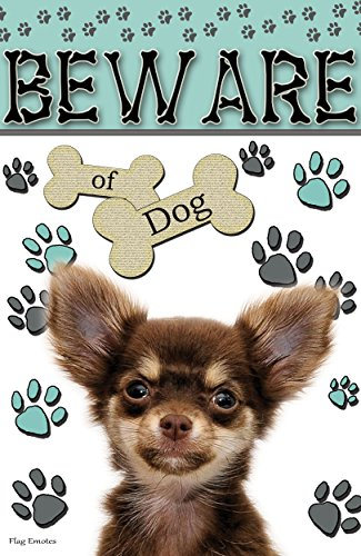 Flag Emotes Double Sided Garden Flag Beware Of Dog Dark Brown Chihuahua