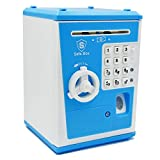 WLHOPE Electronic Password Piggy Bank Mini ATM Electronic Money Saving Banknotes, Coin Box Child Savings Safe Fingerprint and Password Unlock Educational Toys Gift (Blue)