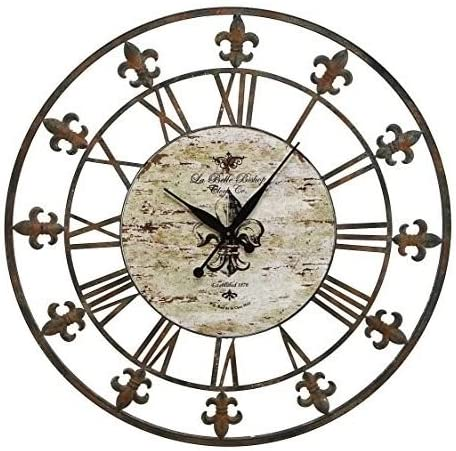 Amazon Com Alphababy Wrought Iron Fleur De Lis Metal Wall Clock Home Kitchen