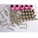 50pcs SG55 AG60 Consumables KIT Electrodes Sheild Cups TIPS Spacer Guide for Plasma Cutter Welder Torch