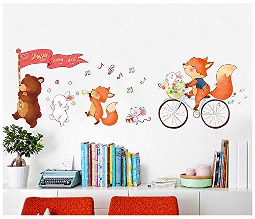 FangKuai FKAL0128 Cartoon Animal Wall Sticker Baby Room Kindergarten Home Decor Kids Art Decals Muurstickers Voor Kinderen Kamers