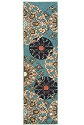 Ottomanson Ottohome Collection/Aqua Blue Damask Design Runner Rug with Non-Skid (Non-Slip) Rubber Backing, Sage Green, 1\'10\