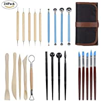 24 Pcs Polymer Clay Tools, Modeling Clay Sculpting Tools with Assorted Shape&Size, Include Dotting Tools, Wooden Ceramics Tools, Rubber Tips Pen, Ball Stylus, Plastic Modeling Tools, 1 Case