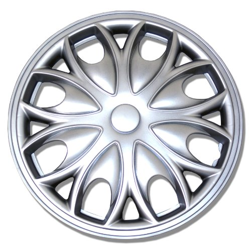 TuningPros WSC-526S15 Hubcaps Wheel Skin Cover 15-Inches Silver Set of 4