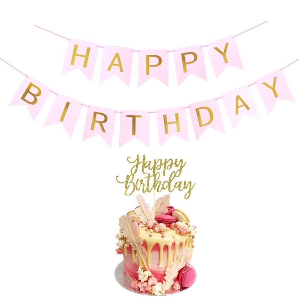 Happy Birthday Banner Cake Topper Pink And Gold Amazon Grocery Gourmet Food
