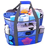 Mesh Beach Bags and Totes, AOMAIS MAX Capacity 30L/150lbs Durable Toy Tote Bag with Removable Strap& 8 Extra Pockets& Inside Pocket for Beach, Picnic (Blue)