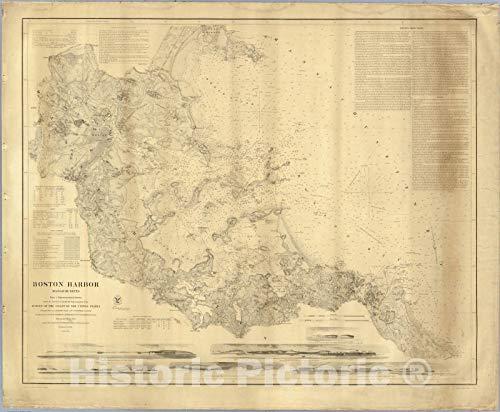 (Historic Map | Boston Harbor, Massachusetts. 1857 | Vintage Wall Art | 44in x 37in)