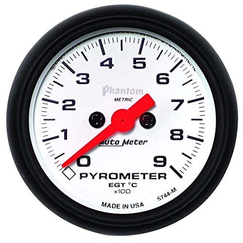 AutoMeter 5744-M Phantom Electric Pyrometer Gauge Kit 2-1/16 in. White Dial Face Fluorescent Red Pointer White Incandescent Lighting Electric Digital Stepper Motor 0-900 Degree C Phantom Electric Pyrometer Gauge Kit