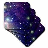 3dRose cst _ 112992_ 3Cool espacio exterior diseño de estrellas y planetas ciencia ficción Sci Fi astronomía friki azulejos de cerámica posavasos, juego de 4