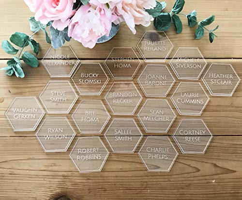 234Tiffany Acrylic Hexagon Place Cards Geometrical Place Cards Wedding Table Decor