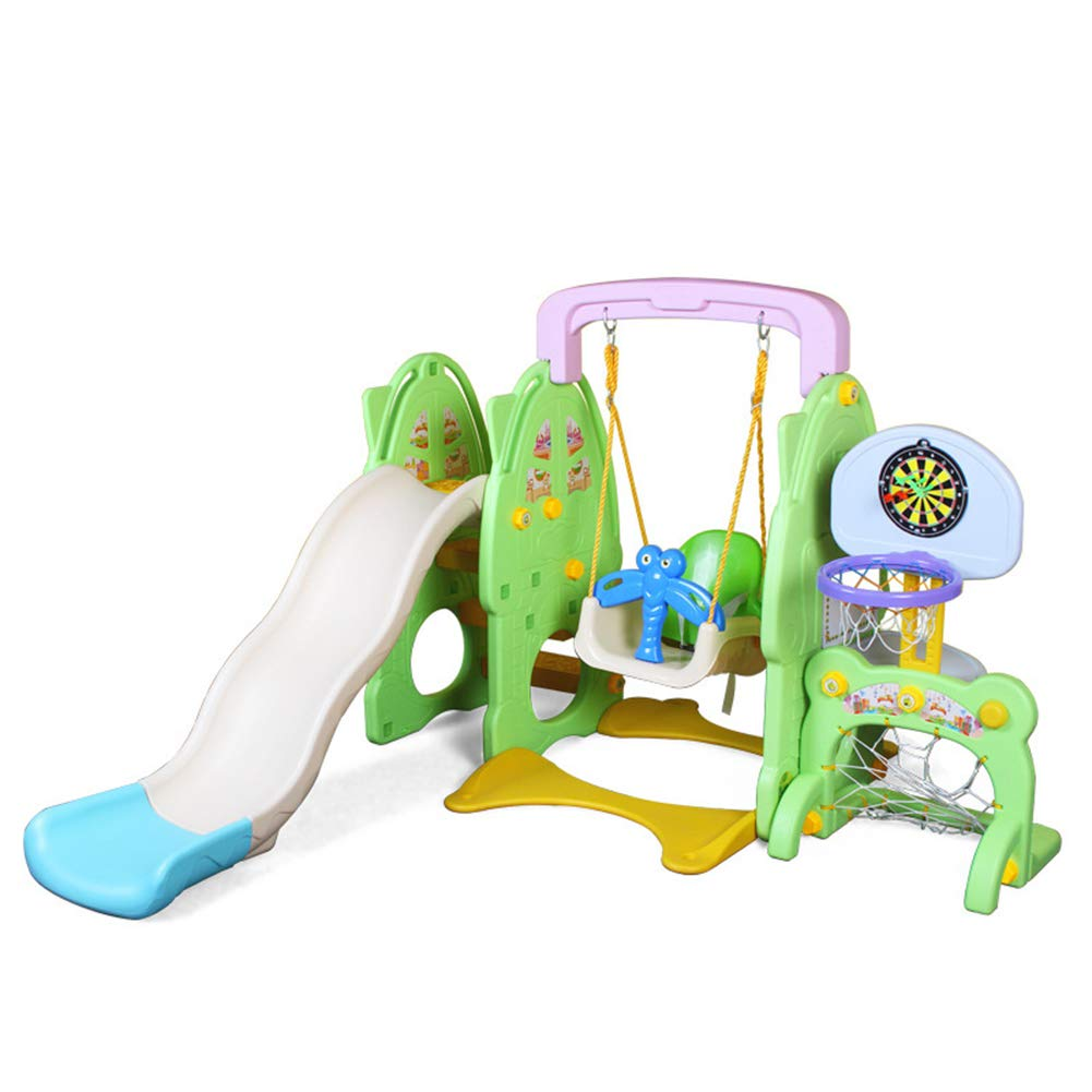 Slide Swing Set Toddler Climber with Music and Basketball Hoop Playset for Both Indoors Backyard,Green by Thole (Image #1)