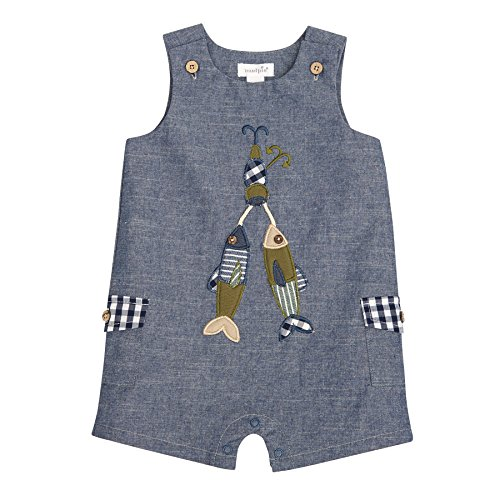 Shortall Boys Gingham (Mud Pie Baby Boys Chambray Fishing Sleevless Romper Shortall Playwear, Blue, 3-6 Months)