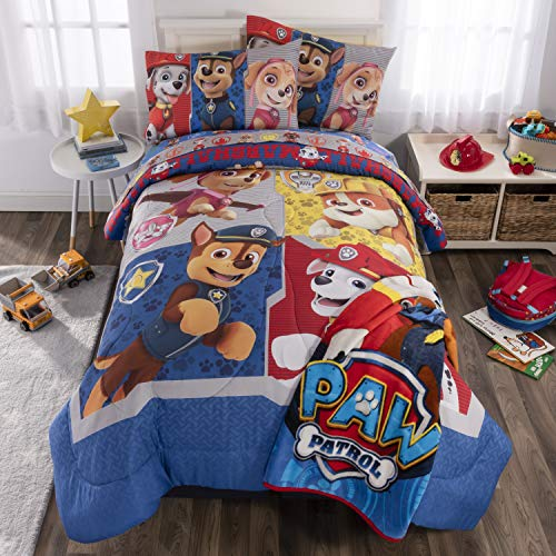 Nickelodeon Paw Patrol Soft Microfiber Comforter, Sheets and Plush Throw Bedding Set, Full Size 6 Piece Bundle