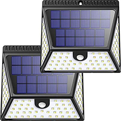 Solar Motion Sensor Lights Outdoor, Luposwiten 82 LED Bright Solar Powered Outdoor Security Wall Lights with 270° Wide Angle for Yard Fence Garden Garage-2 Pack