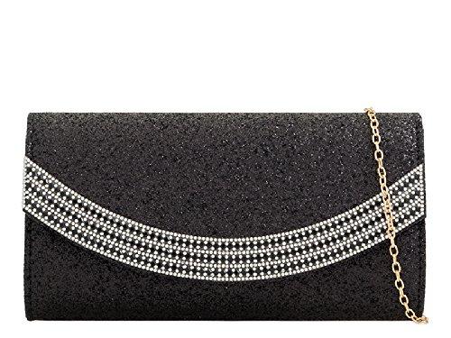 KZ2274 Glitter Diamante Black Clutch Party Handbag Evening Bag Women's Purse Ladies Envelope q1FxdXwFv
