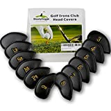 SteadyDoggie Sports & Outdoors Golf Club Headcovers Set of 12 PU Leather Golf Iron Club Covers Suitable for Right and Left Handed Ladies' and Gentlemen's Clubs