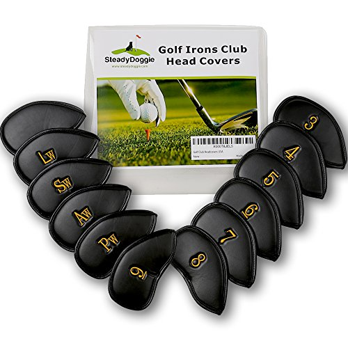 SteadyDoggie Golf Iron Covers Made with Durable Strong&Waterproof PU Leather to Prevent Scratches Or Damage, Attractive Design&Lock Strap Ensures A Secure&Snug Fit, Set of 12 Club Protectors