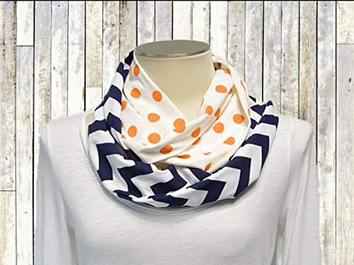 Infinity Scarf for Women Handmade Jersey Knit - Orange Polka Dot/Navy