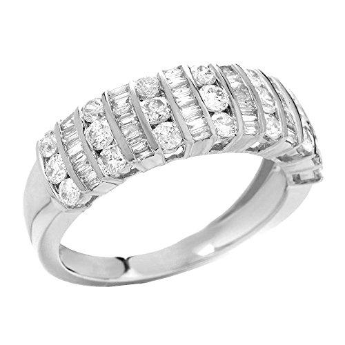 1.25 Carat Round Brilliant Cubic Zirconia Silver Wedding Ring - 4