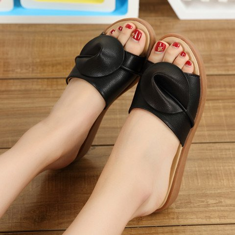 Cool Summer Flat Sandals fankou Black Female Slippers 39 Sandals Bottom Fashion Stylish Cool Outdoor vtT6gxq